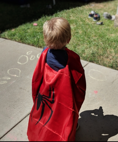 Little hero at his friend's birthday party!